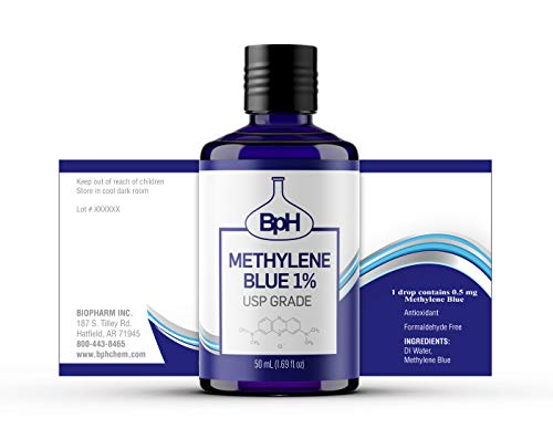 Biopharm Methylene Blue 1% | USP Grade | 50 mL | Easy Dispensing Bottle | 1 Drop Contains 0.5 mg Methylene Blue | Formaldehyde Free | Antioxidant
