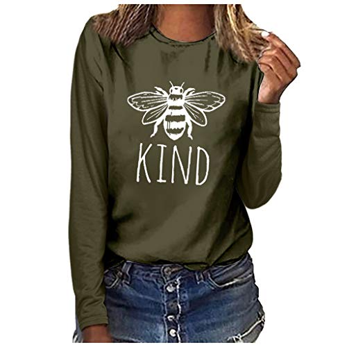 JUTOO Damenmode Rundhalsausschnitt Langarm Bluse Plus Size Print T-Shirt Tops(Armeegrün,S)