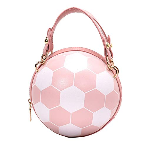 PTMD Women Girl Football Volleyball Round PU Leather Handbag Chain Shoulder Messenger Crossbody Bag Satchel Tote Purse