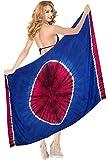 LA LEELA Vestido de la Falda del Abrigo del Traje de baño de Playa Pareo Pareo rayón Tie-Dye de la Mujer Azul Real_X940 78'X42'
