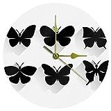 Yoliveya, orologio da parete rotondo silenzioso a forma di farfalla, decorativo senza ticchettio, per regalo, casa, ufficio, cucina, cameretta, soggiorno, camera da letto, 25 cm