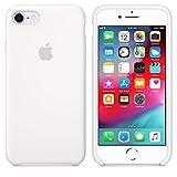 Funda Silicona para iPhone 7 iPhone 8, Logo Manzana, Textura Suave, Forro Microfibra, Silicone Case (Blanco)