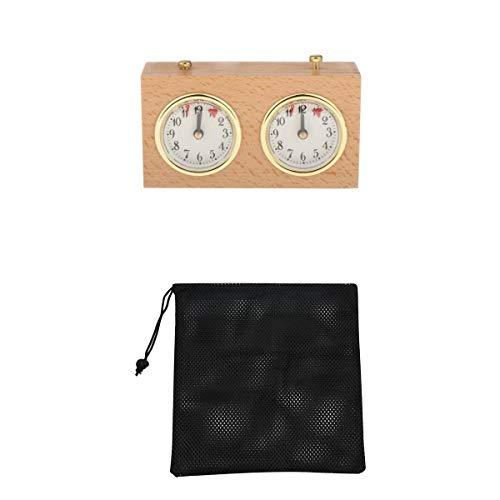 perfeclan Juego de de Madera Reloj de Ajedrez Cuenta Ascendente Y Descendente, Reloj de Ajedrez Mecánico de Cuerda