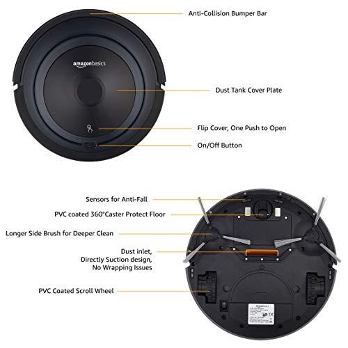 AmazonBasics – Saugroboter, schlankes Design, 18W (800Pa), 4Reinigungsmodi, Antikollisions- & Fallschutz-Sensor, automatische Aufladung, Fassungsvermögen 0,35l, EU - 2