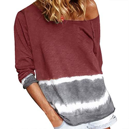 KUKICAT Sweatshirt Damen Large Size Mit Batikmuster Bedruckte Streifen Lange Ärmel