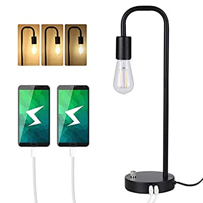 Industrial Table Lamp, Tomshine USB Bedside Lamp, Stepless Dimming Modern Nightstand Lamp with Two USB Charging Ports for Bedroom