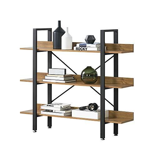 [en.casa] Standregal mit 3 Ablagen Haushaltsregal Büro-Regal mit 3 Regalböden Bücherregal 106x120x28 cm