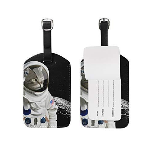 Etichette per bagagli astronauta in pelle di gatto carino ID di viaggio per valigia Tag di viaggio Uomo Donna