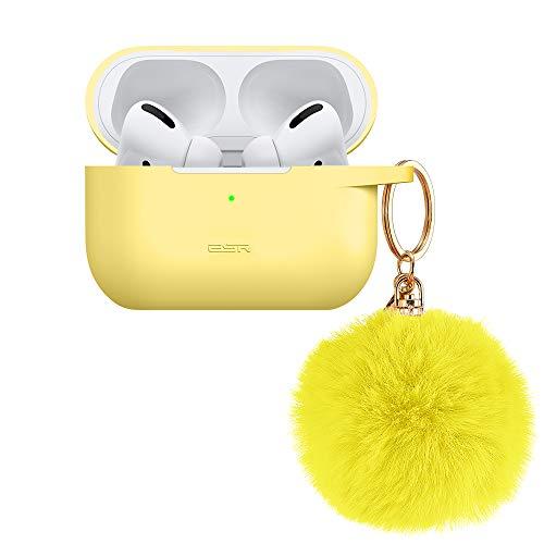 ESR Silikon Hülle Kompatibel mit AirPods Pro Case (2019) - Tragbare Hülle mit Fellbommel-Schlüsselanhänger für AirPods Pro Ladecase - Stoßfeste weiche Silikonhülle mit sichtbarer Front-LED - Gelb