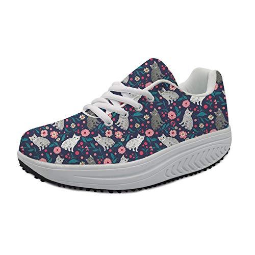 Chaqlin Zapatos de Plataforma para Mujer con Aumento de Altura, para Paisaje, Pintura, Casual, Zapatos de Columpio para Mujer, Color Azul, Talla 39 EU