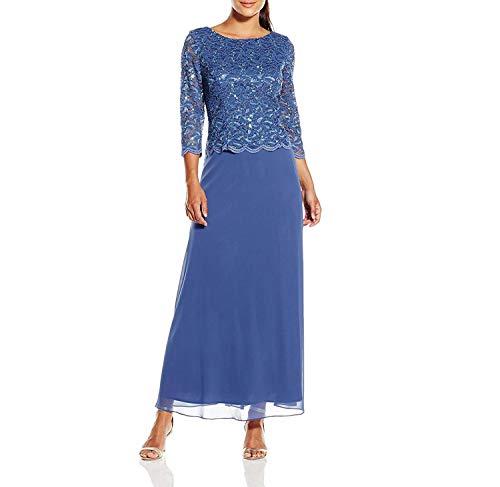 Alex Evenings Women's Long Mock Dress with Full Skirt (Petite and Regular Sizes), Wedgewood, 18