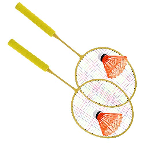 BESPORTBLE Raquetas de Bádminton Juego de Raqueta de Tenis para Niños Raquetas de Bádminton Juego de Bádminton con Nylon Bádminton para Niños Deportes Al Aire Libre Amarillo