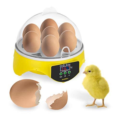 Incubato Brutapparat Inkubator Brutmaschine IN-7DDI (für 7 Eier, inklusive Schierlampe, 20-50 °C, intelligente Temperaturregelung, kosteneffizient Dank 20 W Motor)