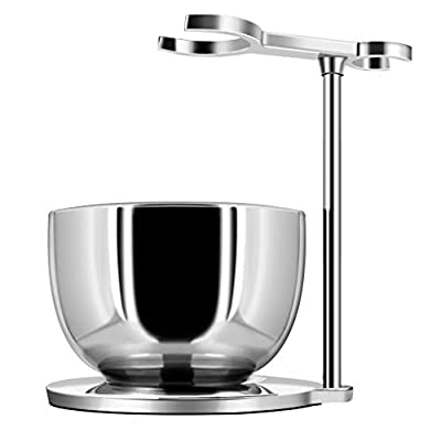 GRUTTI Shaving Set, Deluxe Chrome Razor and Brush Stand with Soap Bowl Gift Shaving Sets Compatible with Manual Razor, Safety Razor, Gillette Fusion Razor