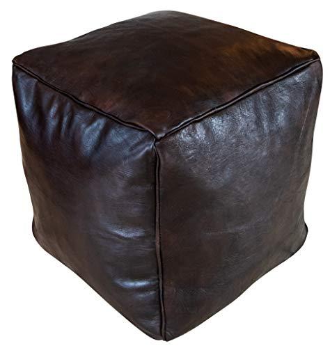 Poufs&Pillows vierkant lederen poef - handgemaakt - gevuld geleverd - ottoman, zitzak, voetenbank 40x40x45 cm donkerbruin