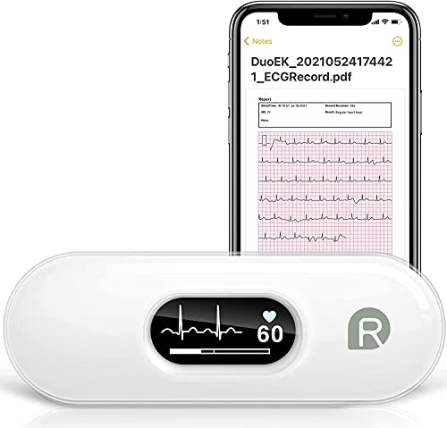 Wellue Monitor de ECG DuoEK, Monitor de Frecuencia Cardíaca, Monitor ECG Con Aplicación iOS y Android, Pantalla OLED de 0,96 Pulgadas, Monitor de Frecuencia Cardíaca Portátil Para Uso Doméstico