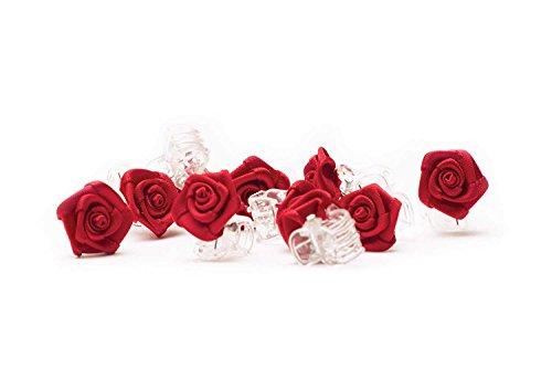 10 x Haarklammern Röschen - Brauthaarschmuck - Rosen Haarklammer - bordeaux rot