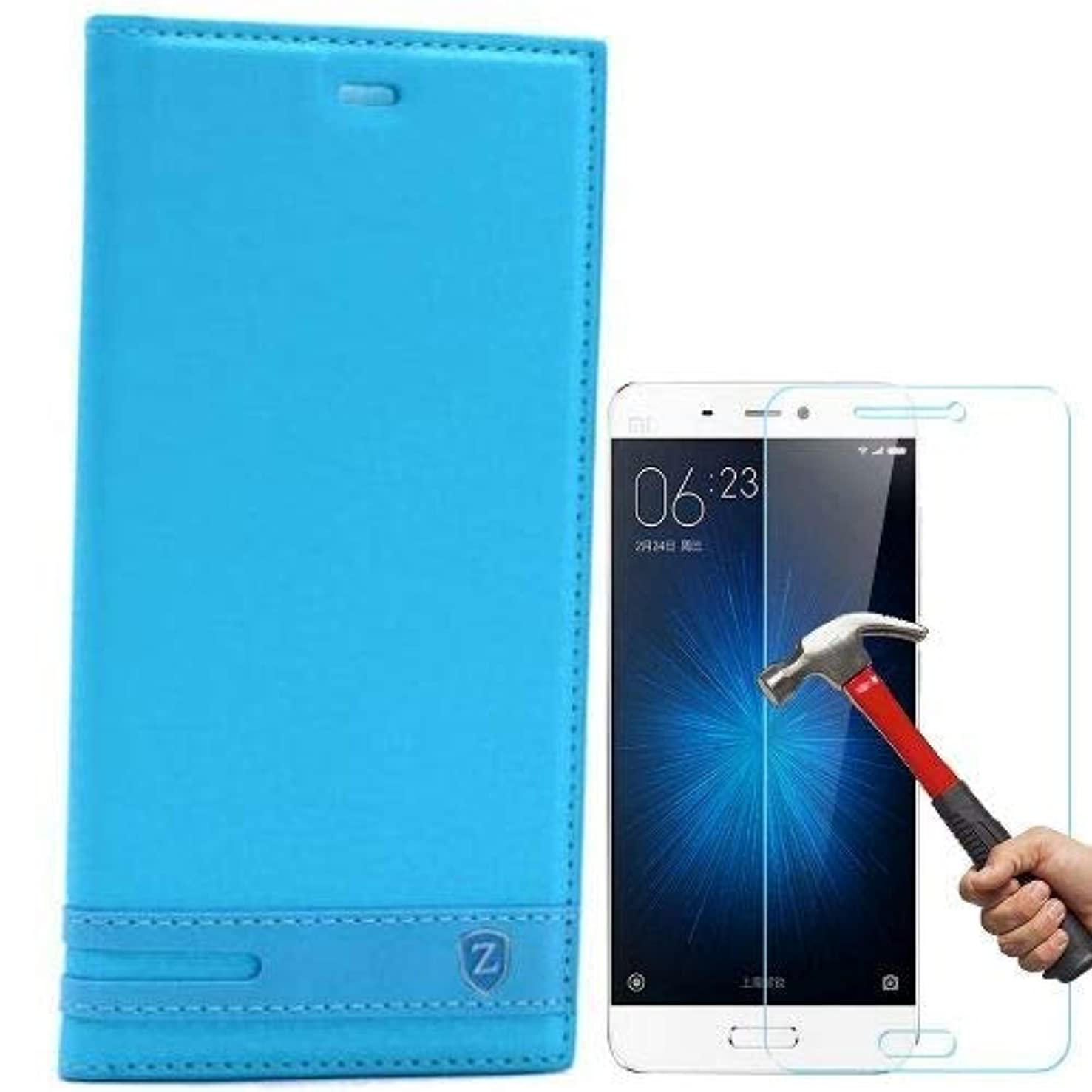 Teleplus for Xiaomi Mi5 Lux Magnet Clamshell Case Turquoise + Glass Screen Protector