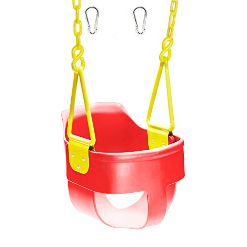 Squirrel Products High Back Full Bucket Toddler Swing Seat 3.0 with Finger Grip, Plastic Coated Chains and Carabiners for Easy Install - Red