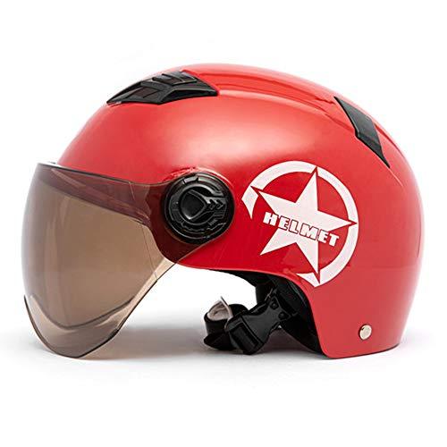 KKmoon Motorradhelm Helm Motorrad halbhelm für Damen Herren halboffenes Gesicht Einstellbare Größe Schutz Getriebekopf Helme für Motorradfahrer Rot