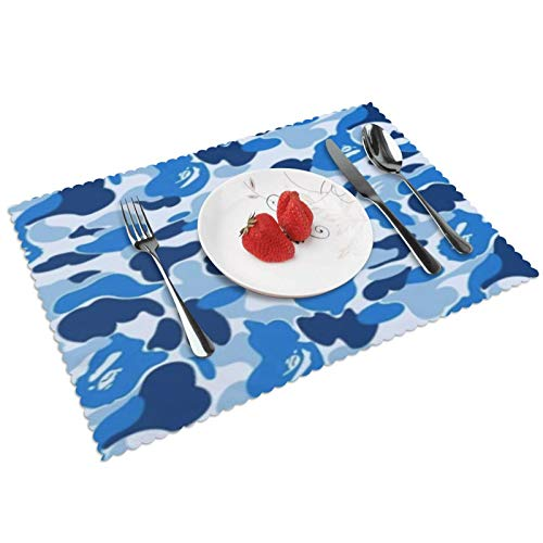 Lhgs5sv Blue Camouflage Design Placemats Set of 4 Washable Heat Resistant Non-Slip Mats for Dining Table Decor 12x18 Inch