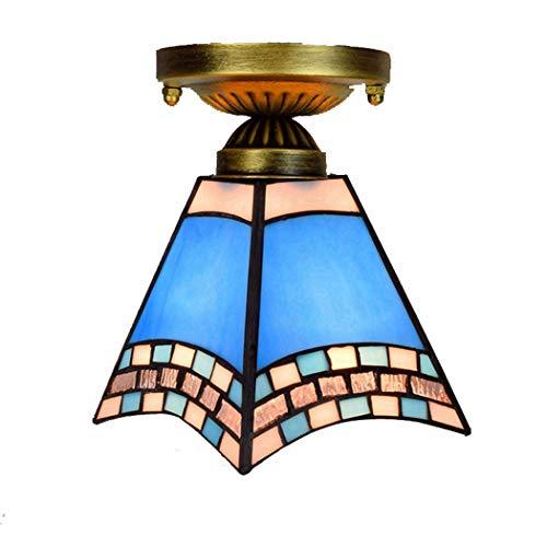 Tiffany Style plafondarmatuur inbouw plafond licht mediterrane glazen kap hanglamp Gang Porch Plafond Opknoping Verlichting E27,40W, 110-240V, 6 Inches,D