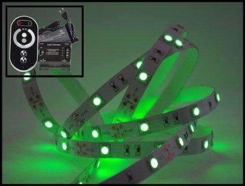 Set de 14 mètres de bande LED verte (M 30 LED/m, protection IP20) avec contrôleur, télécommande et bloc d'alimentation 6 A