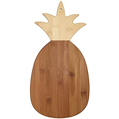 Totally Bamboo Pineapple Shaped Bamboo Serving and Cutting Board, 14-3/8  x 7-1/2