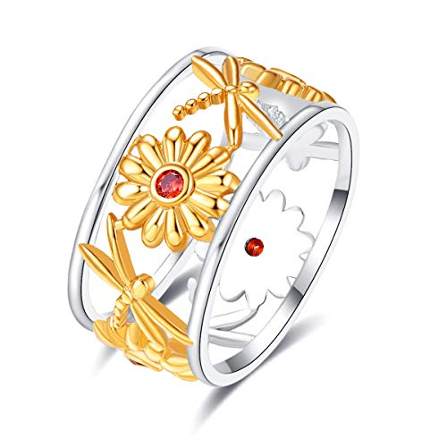 Empsoul Women 925 Sterling Silver Plated Filled Garnet Topaz Gold Tone Dragonfly & Daisy Flower Unique Round Band Wedding Ring Size 9