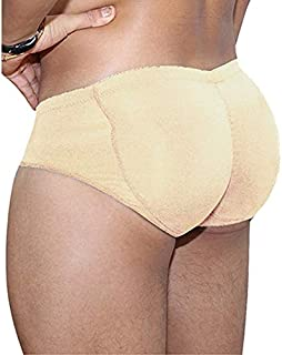 Mens Padded Boxer Butt Lifter Underwear,Hip Enhancer Pads padded underwear,butt lift panties,body strengthening panties with front+rear hips (Color : Beige, Size : XXL)