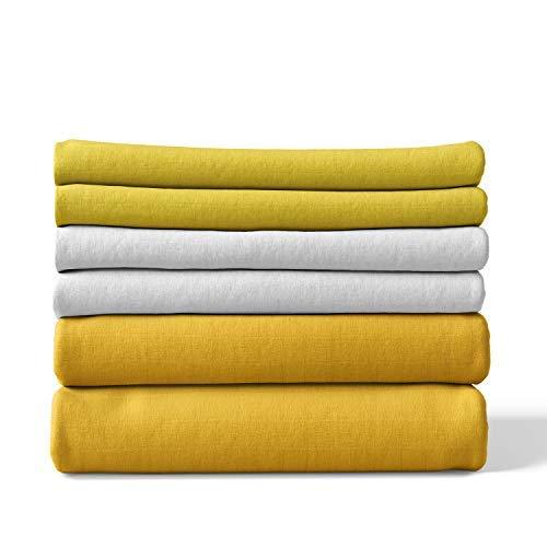 Mullwindeln | Spucktücher - 6er Pack | 80x80 cm - 2 gelb, 2 hellgelb, 2 weiß | Oeko-Tex Standard 100 | kochfest bei 95° C | Moltontücher | Baumwolltücher | Mulltücher | Stoffwindeln