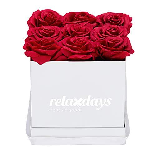 Relaxdays Rosenbox eckig, 9 Rosen, stabile Flowerbox weiß, Lange haltbar, Geschenkidee, dekorative Blumenbox, rot