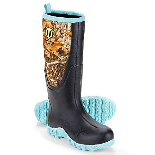 TIDEWE Rubber Boots for Women Multi-Season, Waterproof Muck Rain Boots with Steel Shank, 6mm...