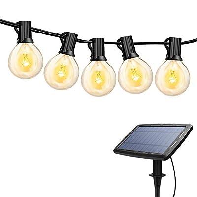Torkase 27ft Solar Powered Globe LED String Lights, 27 x G40 Edison Bulbs, 25 x Dropped E12 Socket, 4400mAh Lithium Battery, Hanging String Lights for Indoor & Outdoor Decor & Illumination