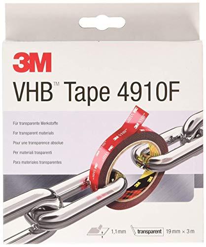 3M VHB 4910 Hochleistungs-Klebeband, 19 mm x 3 m, Transparent, Schutzabdeckung: Folie (1-er Pack)