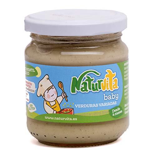 Naturvita | Pack 12 Tarritos Infantiles Variados | Purés Variados Frutas / Verduras / Carne / Pescado | Purés Ecológicos Infantiles | Cremas Infantiles Naturales