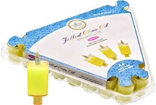 EZ Lite Prefilled Gel Oil Cups for Hanukkah Menorah with Wicks 44 Pack- Small Size - Burns for 1 1/2 Hours