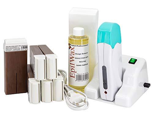 EpilWax Wachswärmer Waxing Set für Enthaarung Haarentfernung mit Aufsteller – Mit 6 Roll On Wachspatronen, Waxing Gerät, 100 Vliesstreifen und Nachbehandlungsöl (Schokolade)