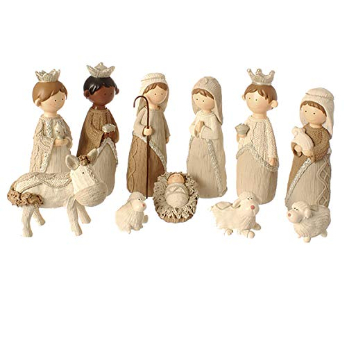 11-piece Faux Knit Style Holy Family Christmas Nativity Manger Set, 8.5 Inches