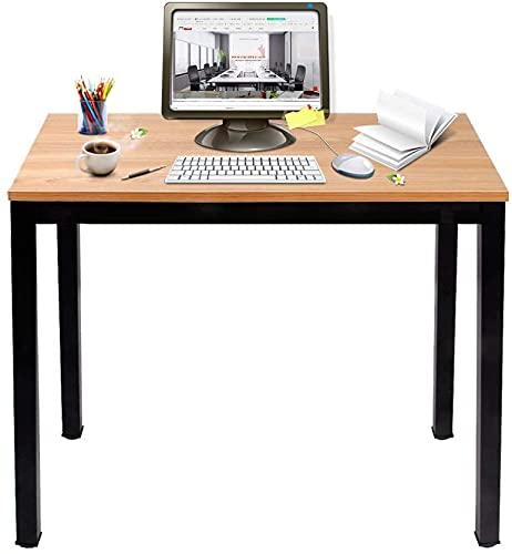 sogesfurniture Escritorios Compacto 80x40cm Mesa de Ordenador Escritorios para Computadora Escritorio de Oficina Mesa de Trabajo Mesa de Estudio de Madera y Acero, Teca & Negro BHEU-AC3BB-8040