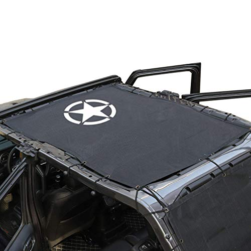 TOAPCAYR JL Jeep Sun Shade Mesh Bikini Top Polyester Cover Jeep Gladiator Bikini Top UV Protection for 2018-2019 Wrangler JL JLU 4 Door Models Sunshade Jeep Mesh-Star