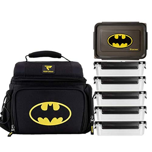 PERFORMA Meal Prep Matrix 6 Meal Cooler Bag Bag - Organized and Insulated 6 Lunch Prep Bag with Two Ice Packs and Shoulder Strap To Accommodate Your Daily Meal Prepping (Batman)