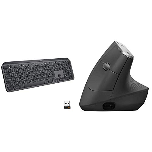 Logitech MX Keys Advanced Wireless Illuminated Keyboard - Graphite & MX Vertical Wireless Mouse (Bluetooth or USB), Rechargeable, Graphite