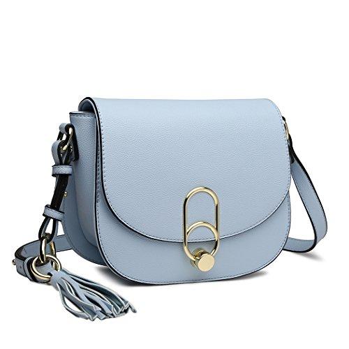 Miss Lulu Schultertasche Damen Umhängetasche Cross Body Bag Modern Mit Reißverschluss Quaste Urlaub Uni Shopping (Blau)
