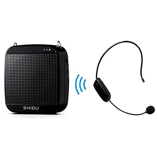 Amplificador de voz inalmbrico, SHIDU Amplificador de voz inalmbrico UHF 18W Altavoz porttil recargable con sistema de megafona con micrfono inalmbrico Auriculares para profesores, canto,yoga