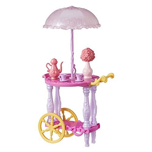Hasbro Disney Prinzessin Servierwagen für Puppen, mit Teetassen, Teekanne, Blumenvase und Sonnenschirm, Spielzeug für Mädchen ab 3 Jahren