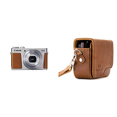 Canon PowerShot G9 X Mark II Kompaktkamera (20,1 MP, 7,5cm (3 Zoll) Display) Silber & MegaGear Ever Ready Leder Kameratasche mit Trageriemen für Canon PowerShot G9 X Mark II, G9 X braun