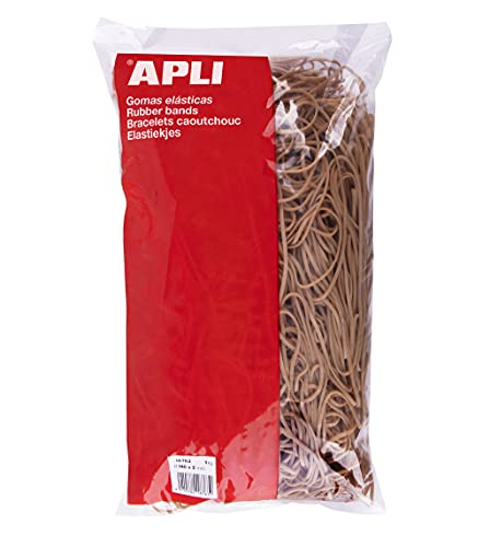 APLI - 18763 - Gomas elásticas - medida Ø 140 x 2 mm - bolsa de 1 kg- 70% caucho natural