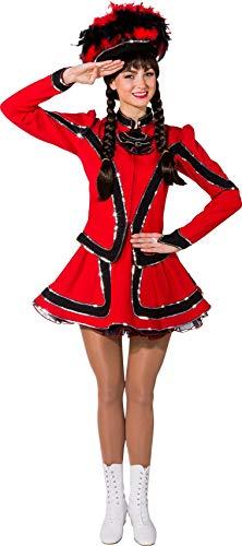O9853-38 rot-schwarz mit Silberborte Damen Funkenkostüm Mariechenkostüm Gr.38