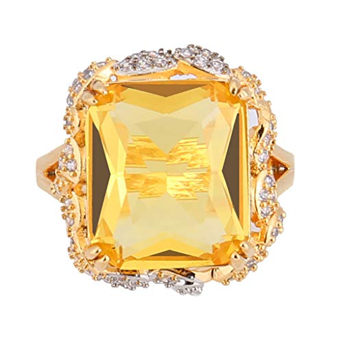 Goddesslili Diamond Rings for Women, Gorgeous Full Yellow Topaz Rings for Your Love Vintage Retro Wedding Engagement Anniversary Luxury Jewelry Gift, 2019